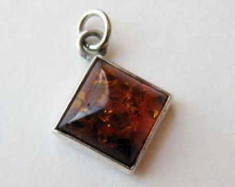 Vintage Baltic Amber Sterling Silver Modernist Necklace Pendant