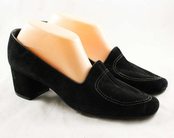 Size 10 Shoes - Black Suede 1970s Pumps - Mod 60s 70s Heels - Nice Quality - Sophisticated Hush Puppies Deadstock - NOS - 10M - 47654-2