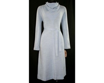 Size 8 Blue Dress - 1960s Heathered Knit - Long Sleeved 60s Modernist Dress with Cowl Neck - Original Tie Belt - NWT Deadstock - 41155