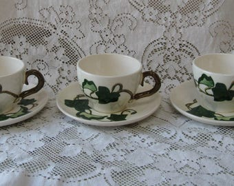 metlox poppy trail california ivy tea cups saucers set of 3 hand painted mid century pottery