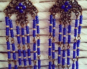 Oriental blue earrings Indigo