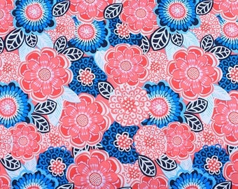 Cotton floral fabric blue and pink flowers