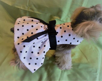 Sweet and Simple Black and White Polka Dot Dog Harness Dress XXXS,XXS,XS,S,M