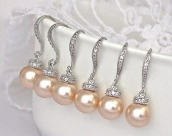 Bridesmaids Pearl Sets, Pearl Earrings, Multiple Pairs, 3 - 8 Pairs Earrings, Pearl Drop Earrings, Customized Color Pearl Earrings, SISSY