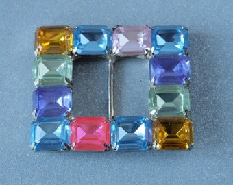 Czech Bright Psychedelic Square Faceted Stones Belt Buckle Lucite
