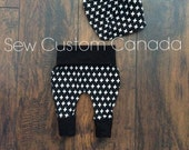 Ready to ship- 0-6 months 'Jet' Inspired - Harem Grow with me Diaper pants and matching bib - cloth diaper pants