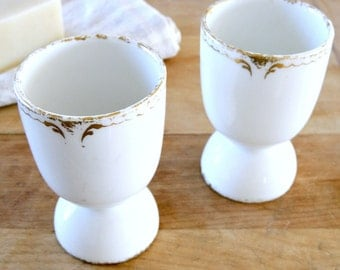 PAIR of White Vintage French Ironstone Egg Cups Limoges Theodore Haviland