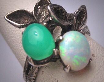 Vintage Art Nouveau Austalian Opal Jade Ring Victorian Floral Silver