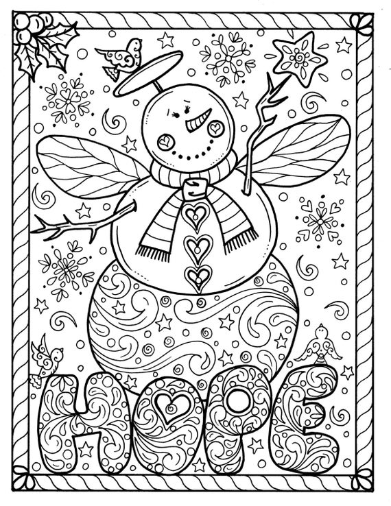 Snow Angel Instant download Christmas Coloring page Holidays