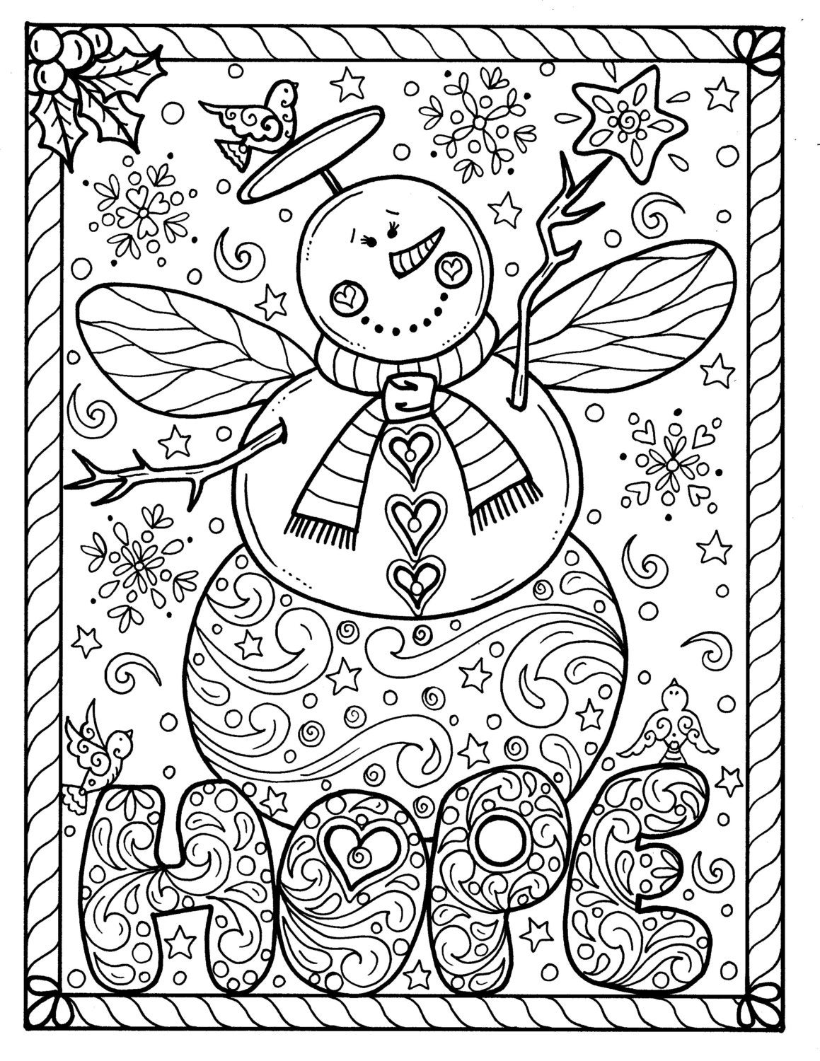 Snow angel instant download christmas coloring page holidays for Holiday coloring pages for adults