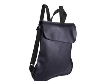 Black Leather backpack purse, Backpack Purse, Laptop Bags, vegan rucksack, designer Backpack, Laptop Backpack, black Backpack