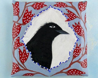 Raven and Tulips, hand-made ceramic wall hanging