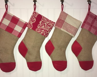 Primitive Christmas Stockings Family Set of Four Burlap & Red Country Christmas Farmhouse Shabby