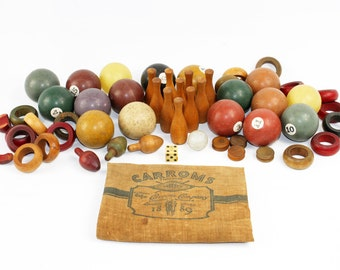 Vintage Toy Lot: Pool Balls, Ping Pong Balls, Mini Bowling Pins and Ball, Wood Tops in Linen Bag