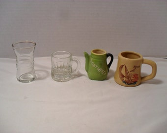 Mini Collection of Vintage Toothpick Holders Souvenir Teapot Beer Mug