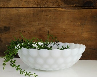 Vintage Bubble Berry Bowl from Anchor Hocking / White large hobnail milk glass dish