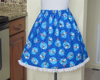 Read Across America Week - Cat in the Hat Skirt with a beautiful white Lace -  Ready to ship sizes X-Small-Large