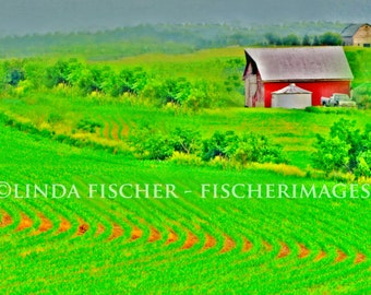 Farm Scene with Red Barn and Brown Barn Old Truck Painted Affect Wall Art Image Photo Digital Download Fine Art Images Fischerimages
