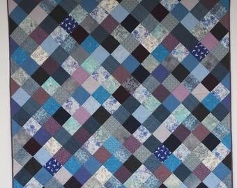 Blue patchwork quilt, modern patchwork quilt, mermaid quilt, purple quilt, sea blue, ocean blue quilt,contemporary quilt, UK quilt