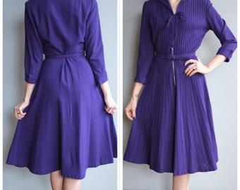 1940s Dress // Dark Violet Wool Dress // vintage 40s dress