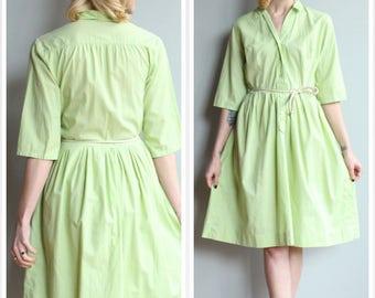 1960s Dress // Spring Day Shirtwaist Dress // vintage 60s cotton dress