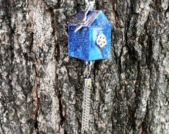 OOAK Birdhouse Necklace, Handmade, Multi-color, from Bluebird Creations, Item #2007