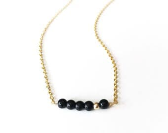 Black and Gold Beaded Bar Necklace, Minimalist Jewelry, Modern Layering Pendant, Small Beads Wire Wrapped, Simple Vertical Bar, Gift for Her