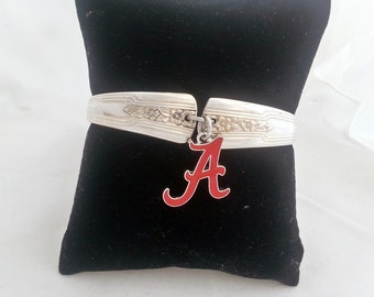 Alabama Roll Tide, spoon jewelry, Louisiana 1938 upcycled silverware, Crimson Tide