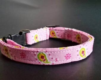 "small dog collar, dog collar, puppy collar, fits 9-13"" inch neck, 3/8"" collar, female collars, Girl collars, pink paisley"