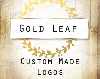 LOGO in Gold Leaf•Premade Logo•Jewelry Card Logo•Watercolor Logo•Custom Logo•Shop Logo