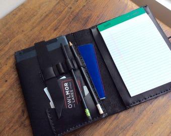Junior padfolio leather, A5 notepad, Apple iPad mini case, 5x8 padfolio, Mini portfolio, A5 notebook cover, Leather iPad mini case, NY made