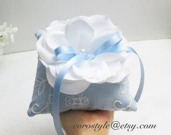White flower ring bearer pillow, Blue ring pillow, ring bearer pillow, Lace ring bearer pillow, wedding ring pillow, Wedding ring bearer