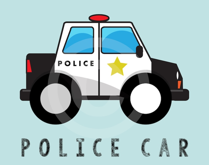 Police Car Kid's Bedroom Wall Art - Cop Car Boys Room Decor - Vehicle Room Decor - Transportation Nursery Decor, Boys Birthday Gift
