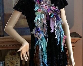 Unique Romantic Art To Wear Feminine Soft Long Scarf BLUE ANTOINETTE Boho Gipsy Fairy Tattered