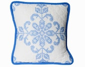 Retro Pillow Cover, 14 Inches, Vintage 1930s Quilt, Cross Stitch on White, Hand Quilted, Jumbo Blue Piping, Shabby Chic, Several Available