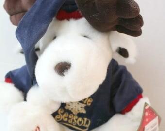 "plush, white reindeer, ""tis the season"", christmas stuffed animal"