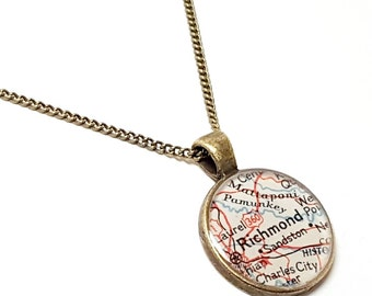 Richmond Map Necklace. Richmond Necklace. Made With A Real 1945 Vintage Map. Ready To Ship. Virginia Map Pendant Necklace. Gifts For Mom