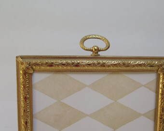Ornate 5 x 7 Stamped Brass Mid  Centry  Brass Picture Frame  Easel Back