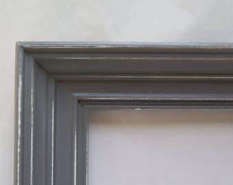 Distressed Chunky Dark Gray Open Picture Frame Beach Cottage Chic