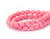 Bubblegum Matte Pink Fire Polished Czech Glass Beads, Opaque Saturated Colour, Round Spacer Beads, 6mm x 25pc (0017)