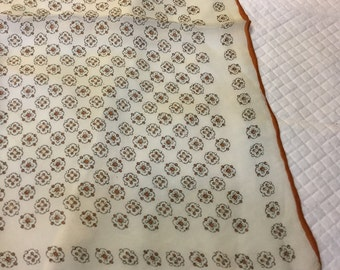 Vintage Small Silk Scarf or Handkerchief White Tan Medallions