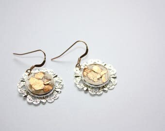 Silver and Gold Flower Earrings, Resin Handmade Earrings, Rose Gold Ear Wires, Ready to Ship