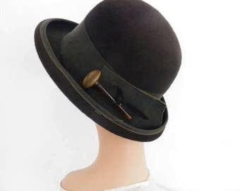 1960s derby hat, vintage brown tilt, Mr. John Classic
