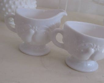 vintage Milk Glass Sugar Bowl and Cream Pitcher Set decorated with Fruits and Vegetables