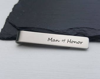 Man of Honor Gift Personalized Tie Clip Custom Tie Bar Personalized Wedding Gift for Men Gift For Him Personalized Jewelry for Men