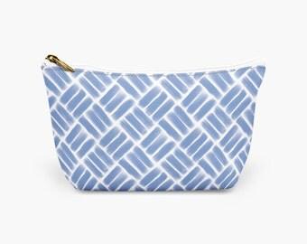 Blue Weave Designer Cosmetic Bag, Blue Make Up Bag, Blue Toiletry Bag, Bridesmaid Gift, Gift For Her Makeup Bag, Make Up Pouch