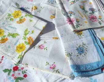 Bundle Vintage French Cotton Hankies Fabric Squares Floral Handkerchief Bunting