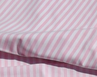 Vintage French Summer Cotton Fabric Pink candy stripes Material