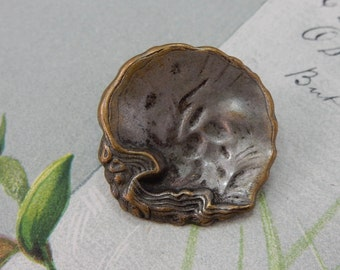 "Antique Metal Oyster Shell SeaShell Button 1""    OS9"