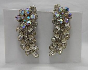 """JULIANA Long Clear Rhinestone Clip On Earrings 2""""   OAB49"""